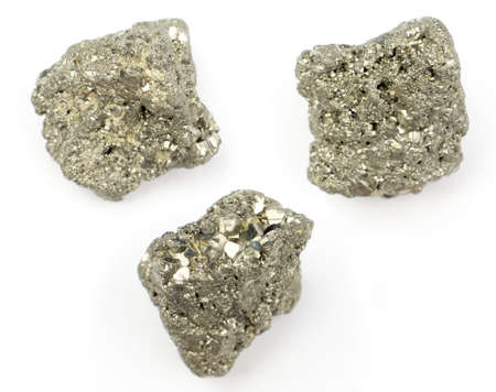 Silver pyrite on white background.