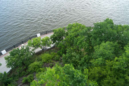 Top view of the embankment of the Amur river.