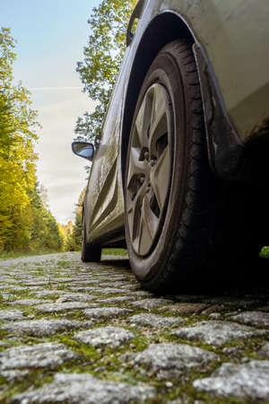 Car on a cobbled road in an autumn forest