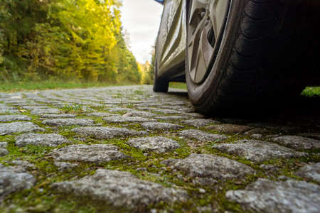 Car on the cobblestone road in the forest.
