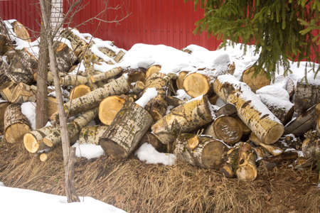 The chocks of birch piled up next to the country house