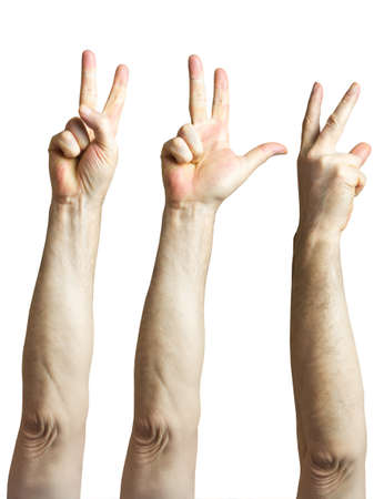 Raised hand with two fingers of an elderly man isolated Stock Photo