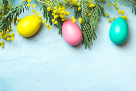 Easter background with mimosa, eggs and blue surface, celebration