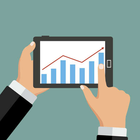 scrolling: A computer in hand with business chart on blue background. Illustration