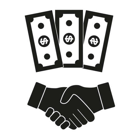 Dollars and handshake icon.