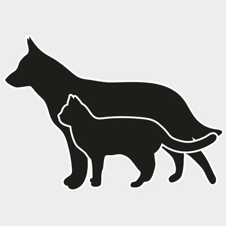 Silhouette of a cat and a dog on a gray background Illustration