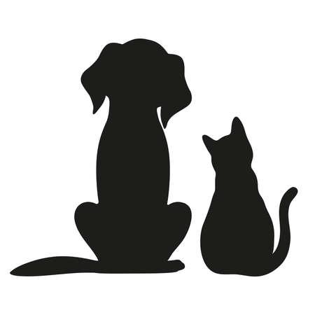 Silhouette di gatto e cane su sfondo bianco Archivio Fotografico - 87861908