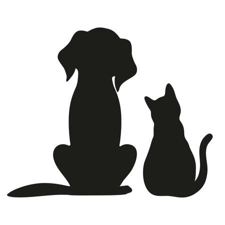Silhouette of cat and dog on white background Zdjęcie Seryjne - 87861908