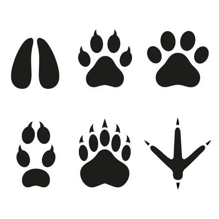 Animals foot prints set