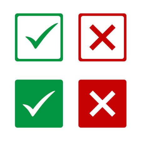 Set van groene vinkjes en rode kruisen