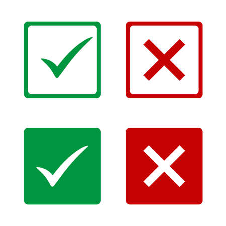 Set of green check marks and red crosses