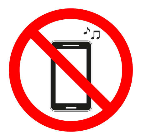 Sign forbidden music in the phone on a white background.