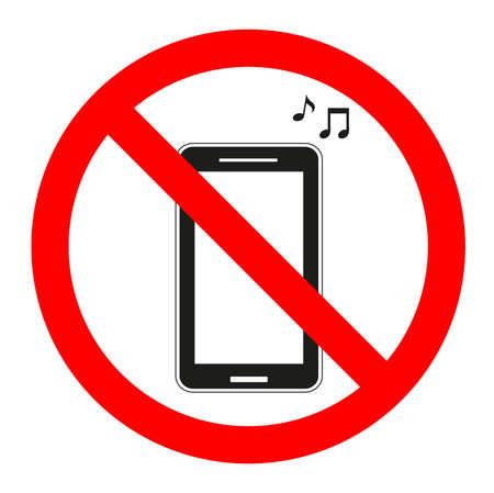 Verbied verboden muziek in de telefoon op een witte achtergrond. Stock Illustratie