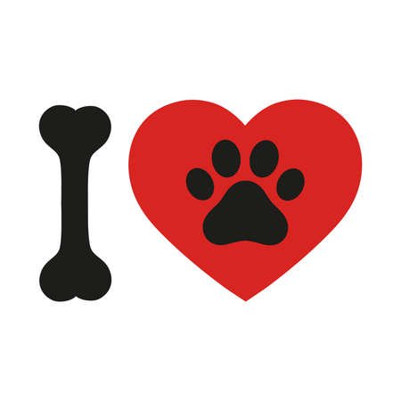 I love text with red heart and paw print. Ilustracja