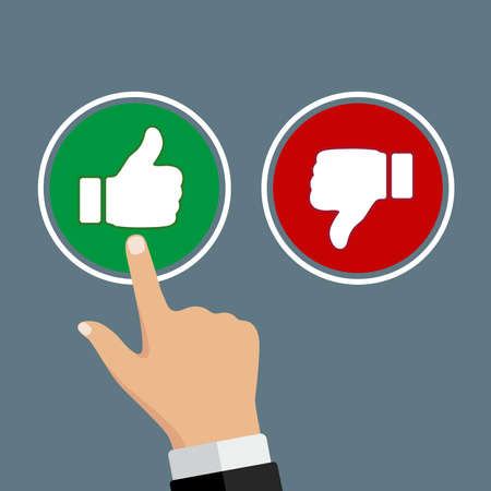 Male hand pressing positive review button. Customer feedback design template. Rating evaluation vector symbol.
