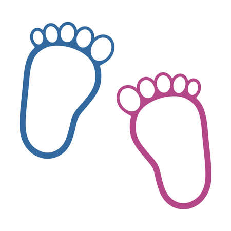 Children's footprints on white background, vector illustration. Vettoriali