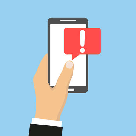 Mobile phone in hand icon. Exclamation single vector.