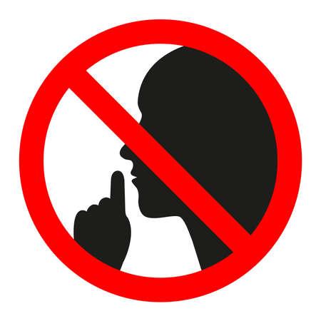 No speaking, no talking, prohibition sign with man speaking symbol, vector illustration Stock Illustratie