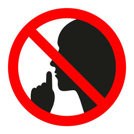 No speaking, no talking, prohibition sign with man speaking symbol, vector illustration Vectores