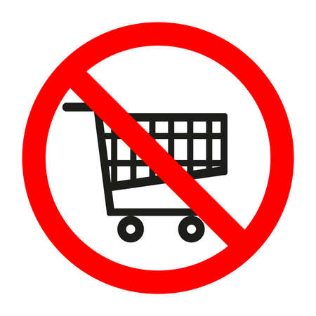 Sign prohibited shopping cart supermarket Vectores
