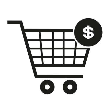 Supermarket trolley, dollar icon, vector illustration Illustration
