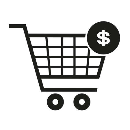 Supermarket trolley, dollar icon, vector illustration
