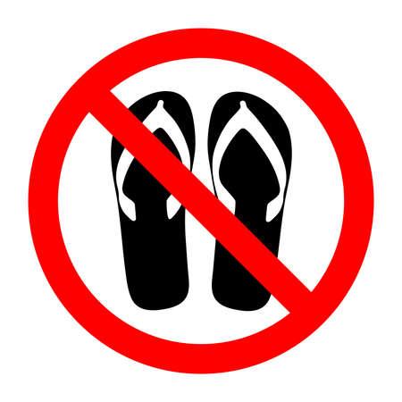 슬리퍼와 금지 된 기호 글리프 아이콘입니다. 샌들, 끈 팬티 또는 개방형 신발 착용 금지. 일러스트