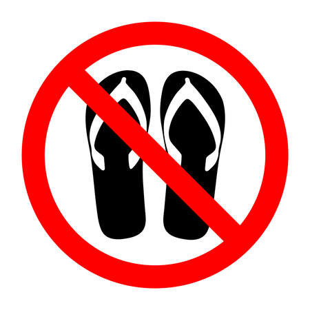 Forbidden sign with slippers glyph icon. No sandals, thongs or open toed footwear.