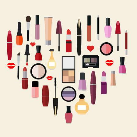 zestaw kosmetyków w formie serduszka