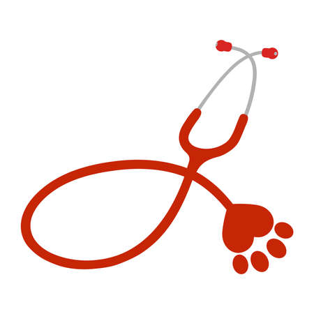vector illustration red stethoscope with paw dog on white background