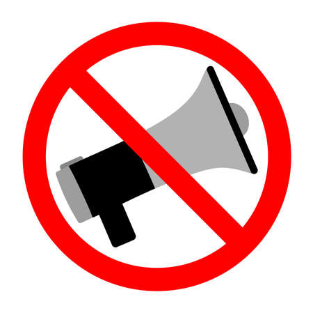a megaphone sign banned on a white background