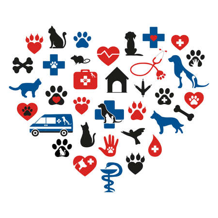 Set of veterinary medicine on white background Ilustração