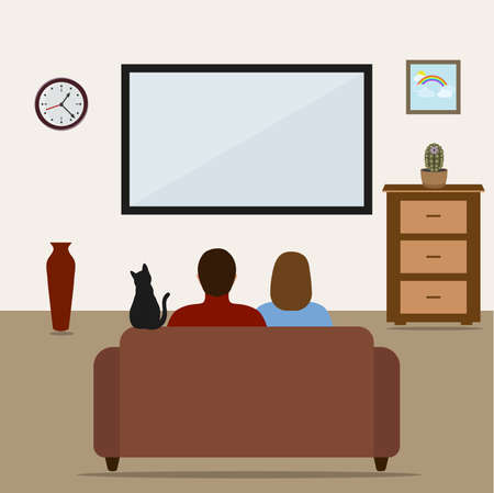 man and woman on the couch watching television Stock fotó - 92071891