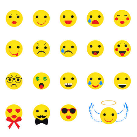 A Vector illustration yellow smileys on white background