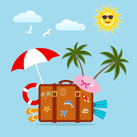 A suitcase with a palm tree on a blue illustration.