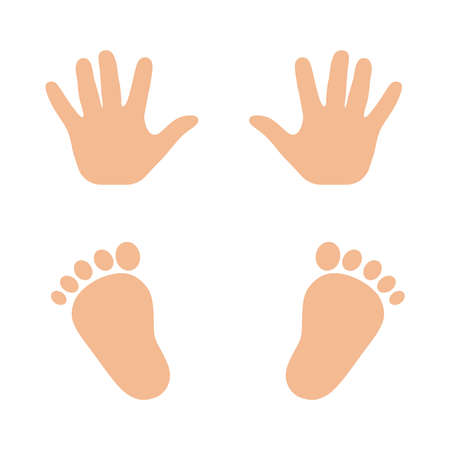 Vector illustration of a print of childrens hands and feet. Ilustração