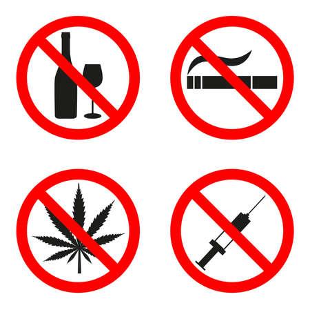Vector illustratie teken verboden roken drugs alcohol. Vector Illustratie
