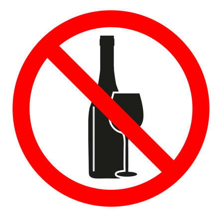 Vector illustration sign forbidden alcohol on white background.