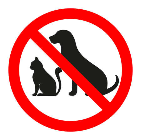 Forbidden animal sign on a white background illustration. 일러스트
