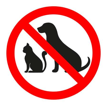 Verboden dierenteken op een witte illustratie als achtergrond.