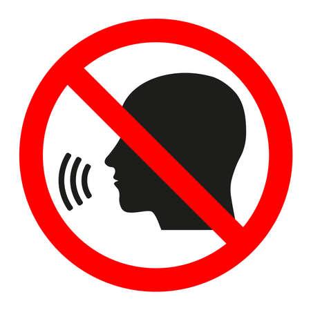 Onderteken verboden gesprek op een witte achtergrond.