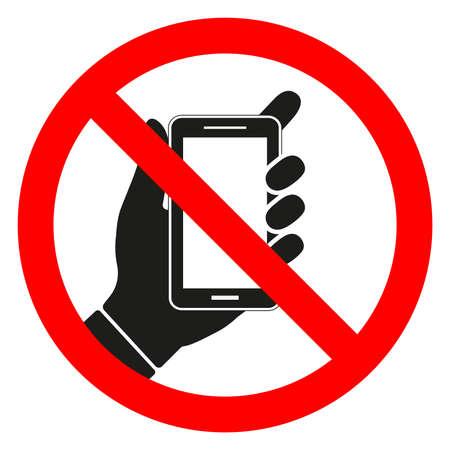 禁止されている携帯電話のベクトル イラストは白の背景にサインオンします。
