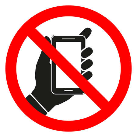 Vector illustration of a forbidden phone sign on a white background.