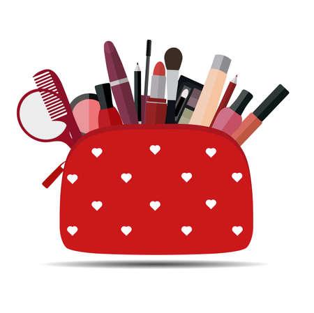 白い背景に化粧をした赤い化粧品バッグ。