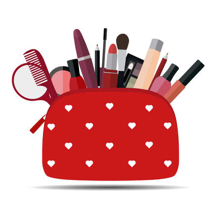 Red cosmetic bag with makeup on white background.