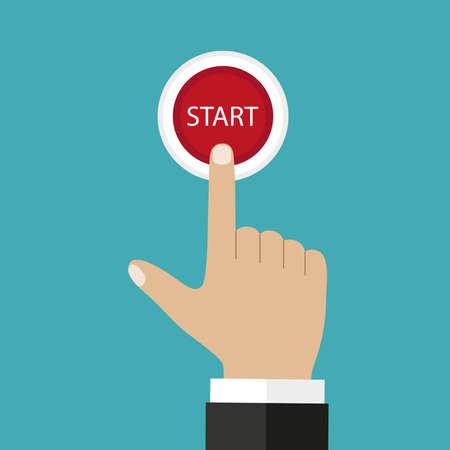 Businessman hand pressing start, just get started concept Illustration
