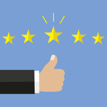 Customer review concept. Rating golden stars. Feedback, reputation and quality concept. Hand pointing to five star rating.
