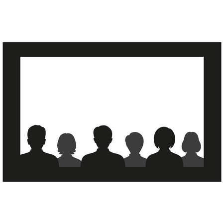 Vector clipart People in the cinema on a white background
