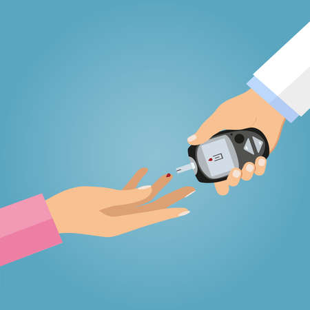 Vector illustration measuring blood on sugar from a finger.