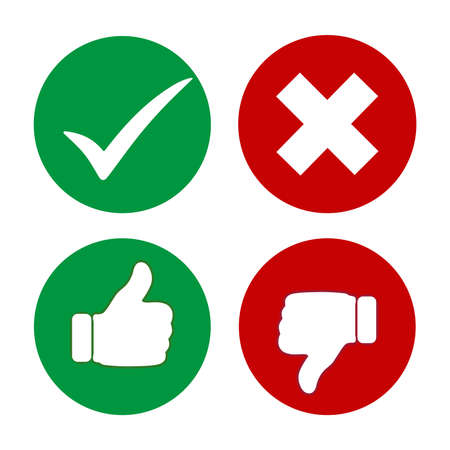 Vector illustration green and red icon thumb up and down